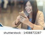 asian women using the cell...   Shutterstock . vector #1408872287