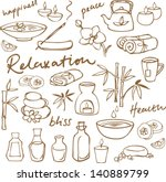 spa   beauty doodle icons set | Shutterstock .eps vector #140889799