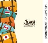 travel suit cases  over white background vector illustration