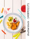 small kid's meal   fried... | Shutterstock . vector #1408931171