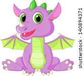 Stock vector cute baby dragon cartoon 140894371