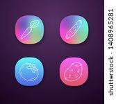 vegetables color app icons set. ...