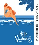 cool summer pool party poster... | Shutterstock .eps vector #1408993757