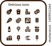 delicious icon set. 16 filled... | Shutterstock .eps vector #1409011364