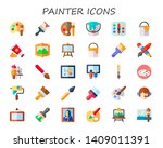 painter icon set. 30 flat... | Shutterstock .eps vector #1409011391