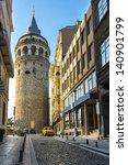 beautiful view on galata tower... | Shutterstock . vector #140901799