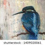Kingfisher Oil Painting  Moder...
