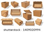 wooden boxes and parcels... | Shutterstock .eps vector #1409020994