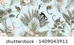 hawaiian vintage botanical palm ... | Shutterstock .eps vector #1409043911