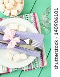 table setting in violet and... | Shutterstock . vector #140906101