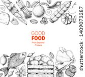 various food frame. good food... | Shutterstock .eps vector #1409073287