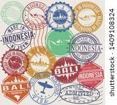 bali indonesia set of stamps....   Shutterstock .eps vector #1409108324