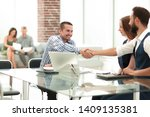smiling business people shaking ... | Shutterstock . vector #1409135381