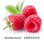 ripe raspberries isolated on a... | Shutterstock . vector #140914555