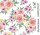 Stock vector flower print elegance seamless pattern 1409155157