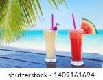cocktails in front of beach...   Shutterstock . vector #1409161694