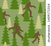 Stock vector bigfoot in forest military pattern yeti clothing texture army background sasquatch protective 1409172314