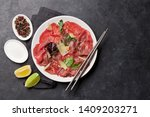 marbled beef carpaccio with... | Shutterstock . vector #1409203271