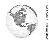 world map earth globe vector... | Shutterstock .eps vector #140921191