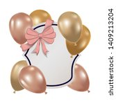 frame with helium balloons on... | Shutterstock .eps vector #1409213204