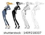 fashion models sketch hand... | Shutterstock .eps vector #1409218337