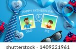 happy father's day flat lay... | Shutterstock .eps vector #1409221961