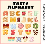 set of tasty alphabet.... | Shutterstock .eps vector #1409250341