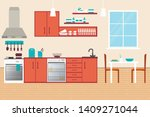 kitchen interior  with... | Shutterstock .eps vector #1409271044