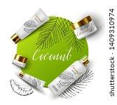 coconut cream product ads  tube ... | Shutterstock .eps vector #1409310974