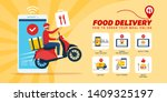fast food delivery app on a... | Shutterstock .eps vector #1409325197