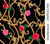 golden chain  rose glamour...   Shutterstock . vector #1409331704