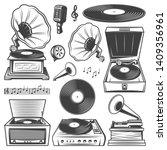 Retro Gramophone Icons Set With ...