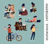 set of social network themed... | Shutterstock .eps vector #1409383904