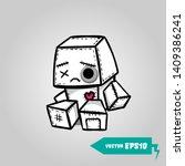 cute evil robot felt sad... | Shutterstock .eps vector #1409386241