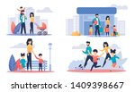 happy family day off cartoon... | Shutterstock .eps vector #1409398667