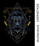 the wild lion head with sacred... | Shutterstock .eps vector #1409407424