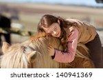 pretty teenage girl loving her... | Shutterstock . vector #140941369