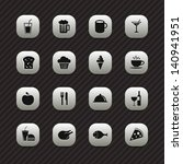 food icons   buttons set