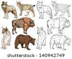 drawing and contour of wild... | Shutterstock .eps vector #140942749