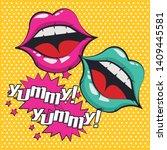 pop art vibrant retro lips open ... | Shutterstock .eps vector #1409445581