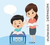 teacher explains task student...   Shutterstock .eps vector #1409446394