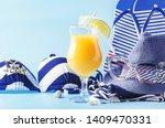 set of blue white summer beach... | Shutterstock . vector #1409470331
