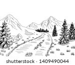 mountain road graphic black... | Shutterstock .eps vector #1409490044
