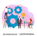 happy smiling boss lead his... | Shutterstock .eps vector #1409494844