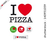 i love pizza, font type with signs, stickers and tags. Ideal for print poster, card, shirt, mug.