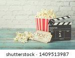 cinema movie concept  popcorn... | Shutterstock . vector #1409513987