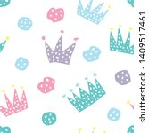 childish seamless pattern with... | Shutterstock . vector #1409517461