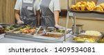 Stock photo cuisine cafeteria buffet with food self service food display showcase 1409534081