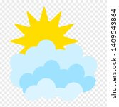 flat sun and clouds icon....