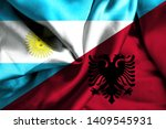 waving flag of albania and... | Shutterstock . vector #1409545931